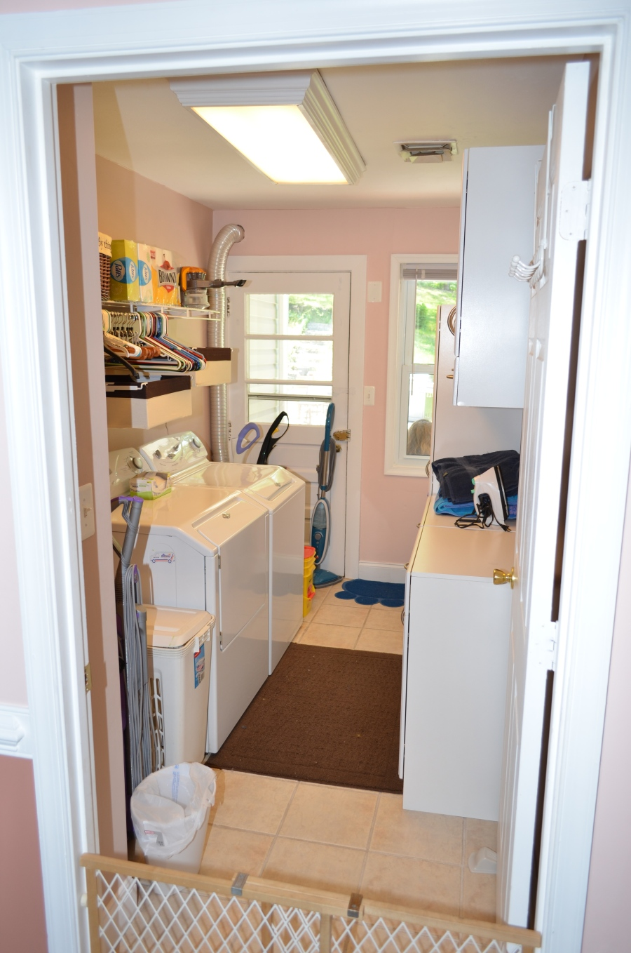 Entry level laundry room.