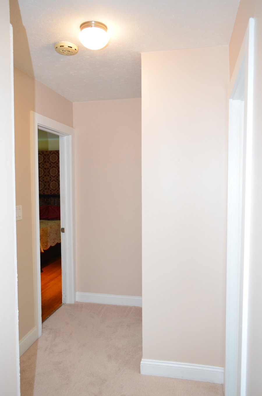 The main level hallway leading to the master bedroom (left).